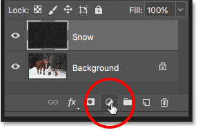 Clicking the New Fill or Adjustment Layer icon while holding Alt (Win) / Option (Mac).