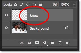 The Layers panel showing the new Snow layer above the Background layer.