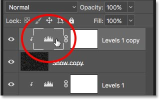 Selecting the copy of the Levels adjustment layer