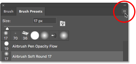 Clicking the menu icon for the Brush Presets panel.