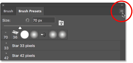 Clicking again on the Brush Presets menu icon.