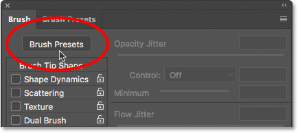 Clicking the Brush Presets button in the Brush panel.