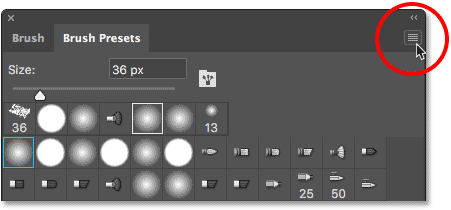 Clicking the menu icon in the Brush Presets panel.