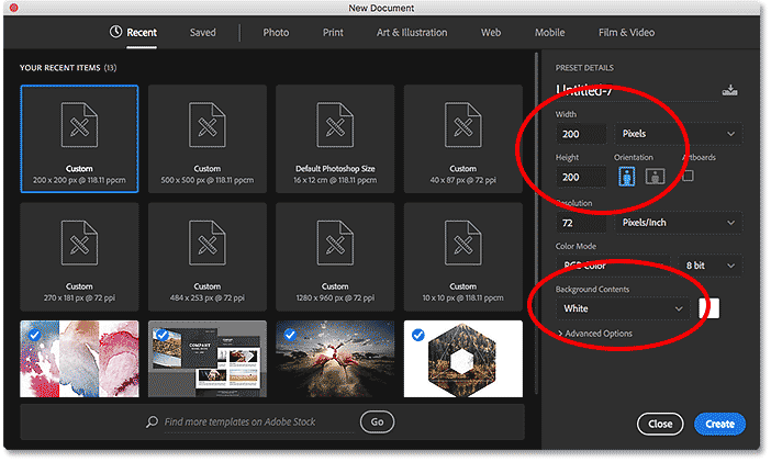 The New Document dialog box in Photoshop CC.