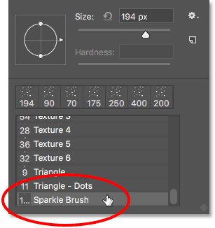 Selecting the Sparkle brush.