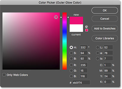 Choosing a color for the glow from the Color Picker.