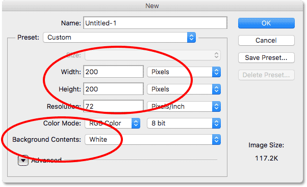 The New Document dialog box in Photoshop CS6.