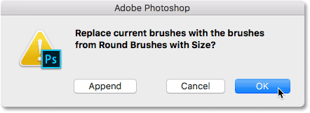 Clicking OK to replace the current brushes with the new ones.