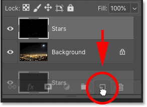 Making a copy of the 'Stars' layer in the Layers panel in Photoshop