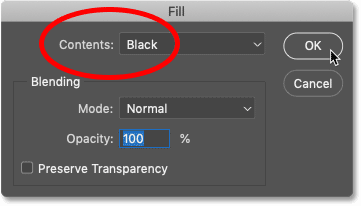 Changing the Contents option to Black in Photoshop's Fill dialog box