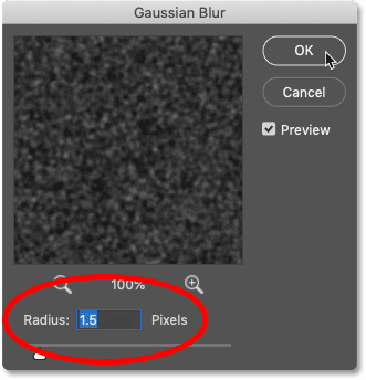 Setting the Radius value in Photoshop's Gaussian Blur dialog box