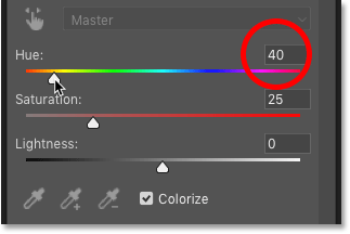 Changing the Hue value to 40 in Photoshop's Properties panel