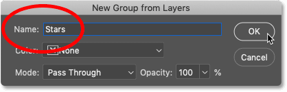 Naming the new layer group 'Stars' in Photoshop