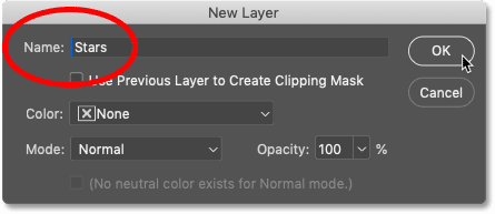Naming the new layer 'Stars'in Photoshop's New Layer dialog box