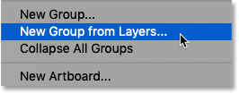 Choosing New Group from Layers from the Layers panel menu in Photoshop
