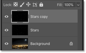 Photoshop's Layers panel showing the copy of the 'Stars' layer