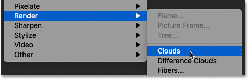 Selecting the Clouds filter in Photoshop