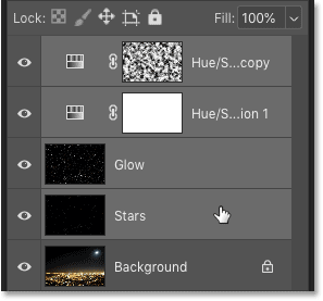 Selecting all four layers that make up the Stars effect