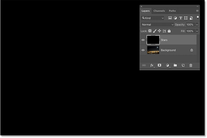 The 'Stars' layer is now filled with black in the Photoshop document