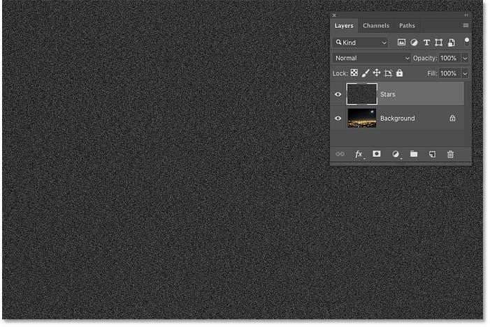 The result after filling the 'Stars' layer with noise in Photoshop