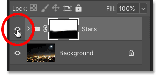 Turning the Stars effect on and off using the visibily icon in the Layers panel
