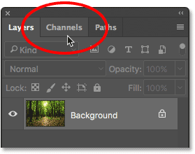 Clicking the tab to open the Channels panel.