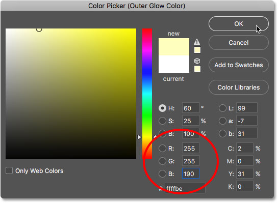Changing the Outer Glow color to yellow.