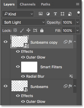 A copy of the Sunbeams Smart Object has been added above the original.