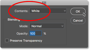 Setting the Contents option to White in the Fill dialog box.