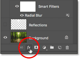 Clicking the Layer Styles icon in the Layers panel.