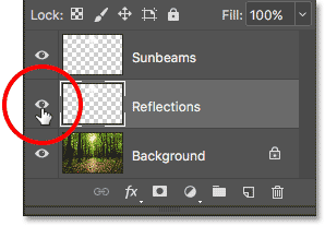 Clicking the visibility icon for the Reflections layer.
