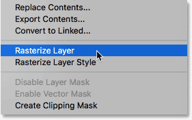Choosing Rasterize Layer from the menu.