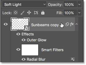 Right-clicking (Win) / Control-clicking (Mac) on the Sunbeams copy Smart Object.