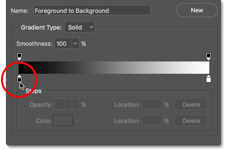 Editing the color on the left of the gradient in the Gradient Editor.