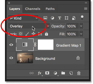 Changing the blend mode of the Gradient Map adjustment layer to Overlay