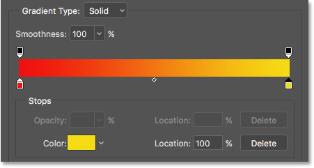 The Gradient Editor showing the new red to yellow gradient.
