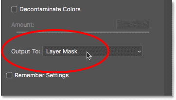 Outputting the selection as a layer mask from the Select and Mask workspace