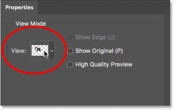 Changing the View Mode in Select and Mask in Photoshop