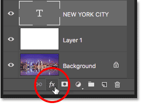 Photoshop Add Layer Styles icon in Layers panel