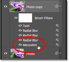 Editing the Mezzotint filter for the 'Photo copy' smart object