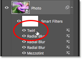 The Layers panel showing the Twirl smart filter