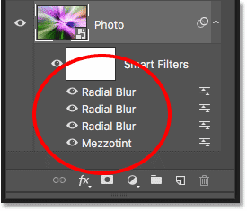 The Layers panel showing the Mezzotint and three Radial Blur Smart Filters