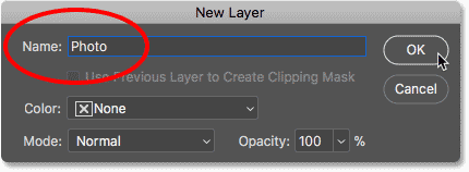 Renaming the Background layer in Photoshop