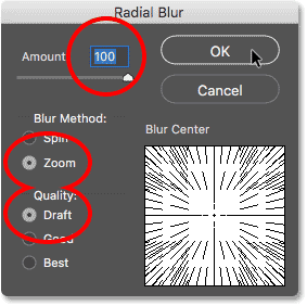 The initial Radial Blur filter settings