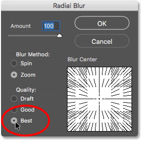 Changing the Radial Blur quality to Best
