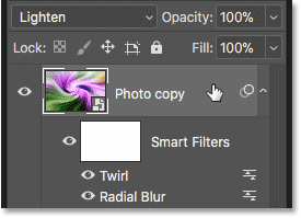 Selecting the 'Photo copy' smart object
