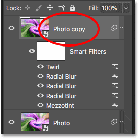 The Layers panel showing two copies of the Smart Object with the Smart Filters applied