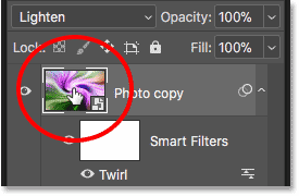 Double-clicking the thumbnail for the 'Photo copy' smart object in Photoshop