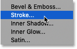 Adding a Stroke layer effect in Photoshop