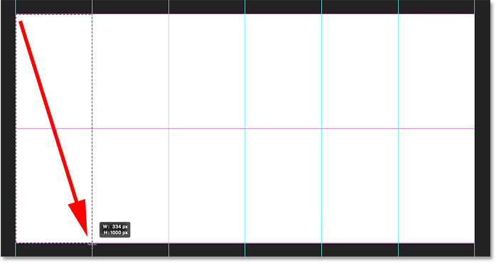 Drawing a rectangular selection around the first vertical section of the collage in Photoshop.